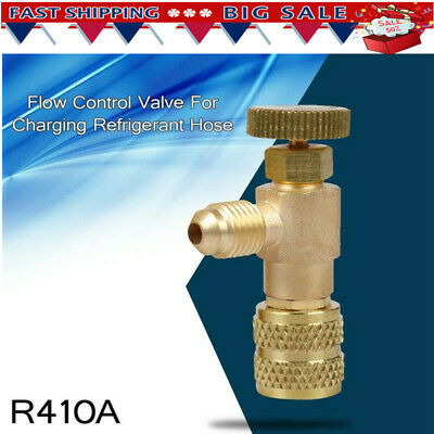 """R410A Copper Flow Control Valve For Refrigerant Charging Hose Red 1//4/"""" to 5//16/"""""""