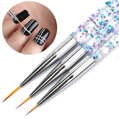 3pcs Kolinsky Nail Art Brush UV Gel Paint Drawi Line Pen Liner Thin Brushes
