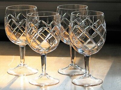 Pretty Crystal Clear Cut Glass 6 1/2 Inch Water/Wine Goblets - Set of 4