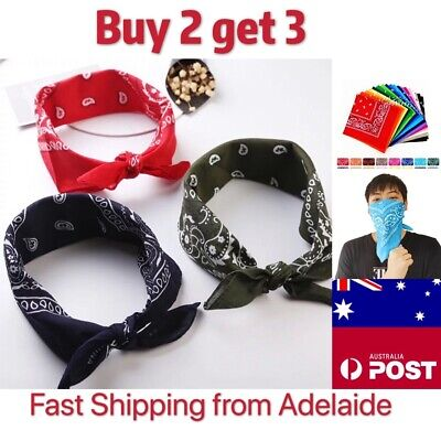 COTTON BANDANA  Scarf Durag HeadwrapPaisley Head Wrap Summer Bike Mask Au