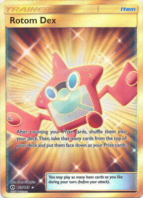 Pokemon Cards Rotom Dex Trainer Sun & Moon Base Full Art Secret Rare 159/149 NM