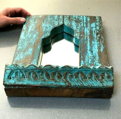 Vintage Indian Furniture. Mughal Arch Hanging Mirrored Shelf. Shrine. Turquoise.