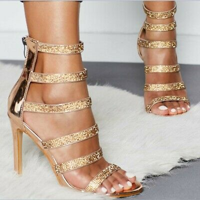Womens Diamante Strappy Peep Toe Sandals Ladies Zip High Heels Bride Shoes Party
