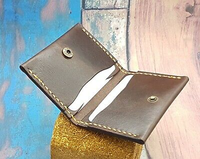 Leather Card Case/Credit Card Case/Bifold/Snap Closure/ 4 Card Slots/Handmade