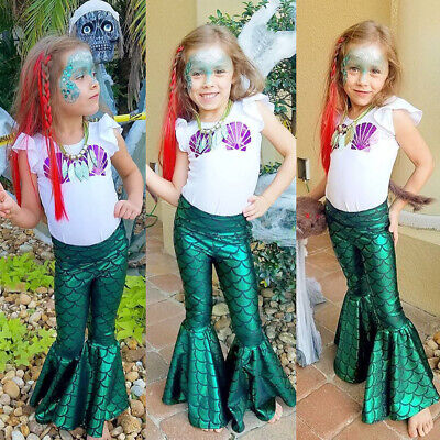 Kids Baby Girl Mermaid Blouse Top T-shirt Dress Legging Pant Outfit Set AU Stock