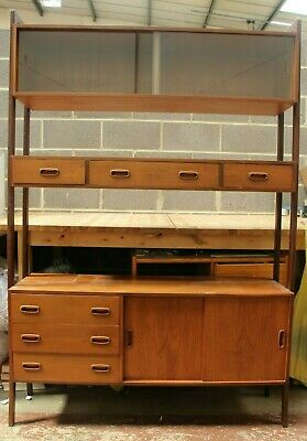 Vintage Mid Century Danish G Plan Teak Wall Unit Glass Doors Cupboards  - 254