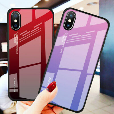 Hybrid Gradient Tempered Glass Hard Case for iPhone XS Max XR X 6 7 8 Plus Cover