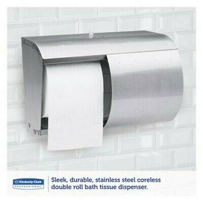 Kimberly Clark Stainless Steel Coreless Double Roll Toilet Tissue Dispenser 9606