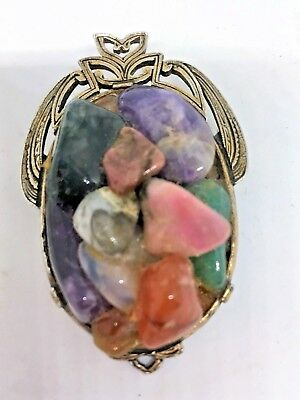 Vintage Miracle Jewelry Arts & Crafts Old Multi-Stone Brooch/Pendent~ Made in UK
