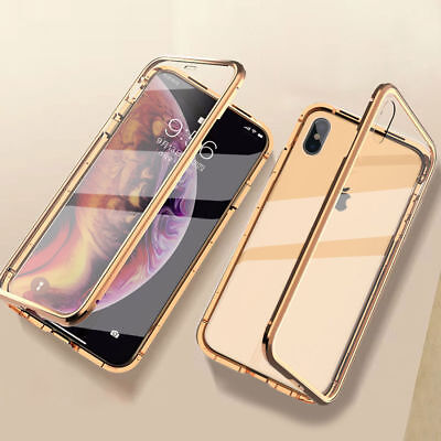 360° Magnetic Adsorption Front+Back Temper Glass Case Cover for iPhone 7 8 XR XS
