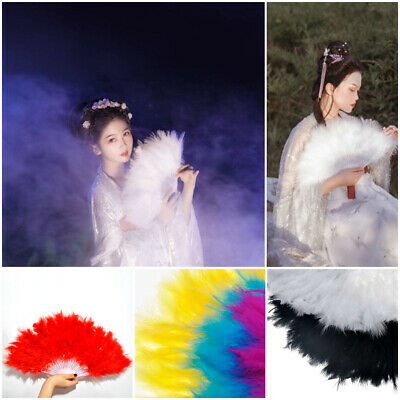 Chinese Ancient Wind Stack Feather Hand Fan Full Velvet Cheongsam Props Gift M00
