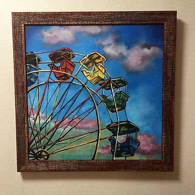 Original Oil Painting of Colorful Ferris Wheel by Ruth