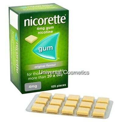 Nicorette Chewing Gum Original 4mg Nicotine 105 Pieces box