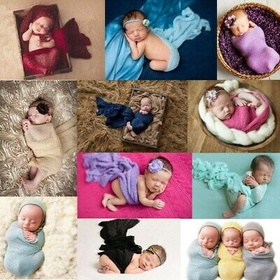 24Color Baby Cheesecloth Swaddle Cocoon Knit Crochet Wrap Photo Photography Prop
