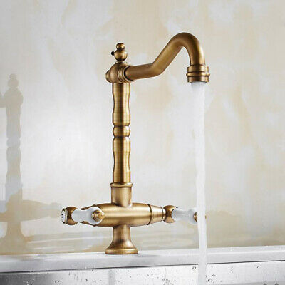 Bathroom Kitchen Antique Brass Sink Basin Faucet Two Handle Swivel Mixer Tap