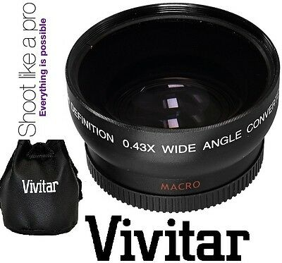 40.5mm Vivitar HD4 Optics 0.43x Pro HD Wide Angle With Macro Lens