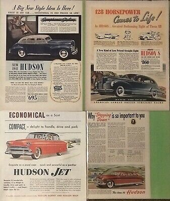 (4) Original Vintage Hudson Ads In Excellent Condition from Saturday Eve Post...