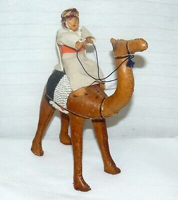 """Vintage Leather Camel With Rider Hand Crafted 10"""""""