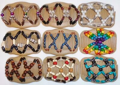 """Angel Wings Hair Clips 4x3.5"""", African Butterfly Style, Magic Combs, BEIGE, S102"""