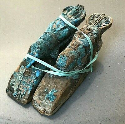 Antique Vintage Indian Wooden Horse Head. Pair. Turquoise
