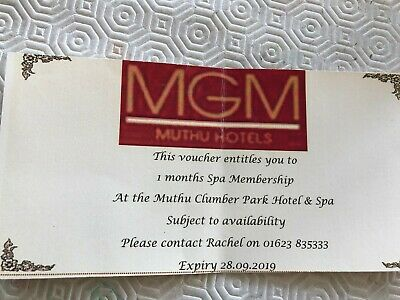 One Months Spa Membership Voucher At Mutha Clumber Park Hotel & Spa - Worksop