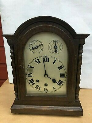 Antique German 8 Day Oak Westminster Bracket Clock