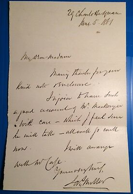 Prof James Miller -  author of Principles of Surgery - original 1861 letter