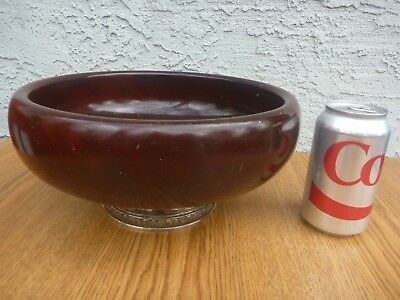 Vintage Mahogany Wood Salad Bowl Sterling Base Mueck Carey Co.