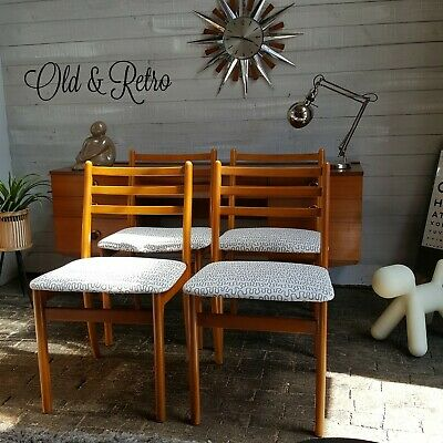 Set four Vintage Retro Mid Century dining chairs beech grey white seat covers 4