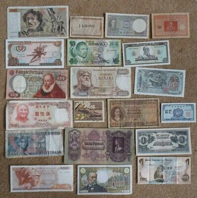 20 Old World Banknotes. Mixed Countries & Condition. Job Lot Of Notes.