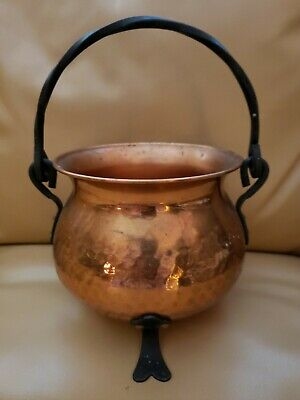 Vintage Hammered Copper Footed Cauldron Kettle Pot Wrought Iron Handle & Feet