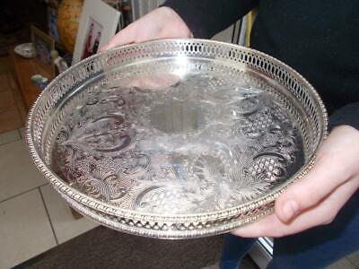Vintage Circular Silver Plated Gallery Champagne Tray In Good Condition
