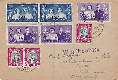 South West Africa 1947 Royal Visit Set on Registered FDC to Maltby UK