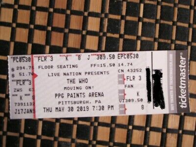 ONE ticket: The Who in Pittsburgh 5/30 - Floor Sect. 3, Row K