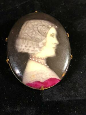 Antique Colored Art Painted Lady Portrait Cameo Brooch Pin Wearing Red Dress