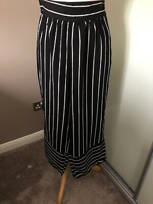 Ladies Silk Effect Striped Trousers Black & White From USA Size 8/10