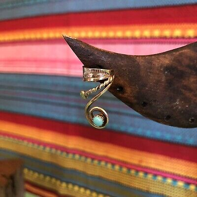 Vintage Signed Native American Sterling Silver Turquoise Ear Cuff