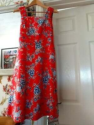 Vintage Spinney Cotton Ladies Red Floral Dress/Sleeveless/Fit And Flare/Size 16