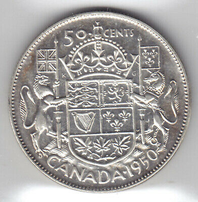 1950 Canada ICCS Graded Silver 50-Cent Half Dollar Coin - No Design - V F 30