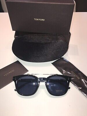 22a77a709d NEW GENUINE TOM FORD Henry Clubmaster 51mm Round Black Sunglasses TF ...