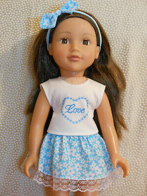 18 inch doll clothes for Design a Friend. Top skirt and headband.