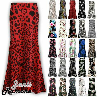 Plus Size Womens Floral Print High Waist Gypsy Flared Jersey Summer Maxi Skirt
