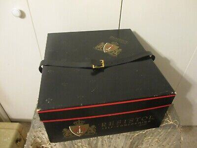 RESISTOL HAT BOX (Vintage) with FAUX Leather Strap BLACK/RED