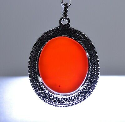 Aqeeq Yemen Red Kabdi Akik Aqiq (Agate) Silver Pendant Necklace Islamic Jewelry