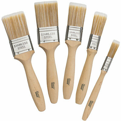 5 Piece Harris Trade Premium Fine-Tip Brush Decorating Paint Brushes All Paints
