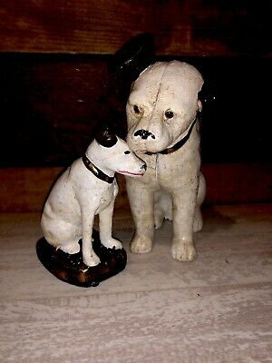 Lot of 2 Vtg Antique Cast Iron Banks RCA Victor Nipper Dogs