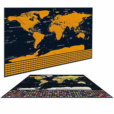 Scratchs Off World Maps Deluxe Edition Travel Log Journal Posters With Flags