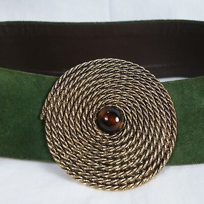 "Vtg. Wide Olive Green Suede Belt w/ 3.5"" Round Metal Spiral Buckle Glass Ctr."