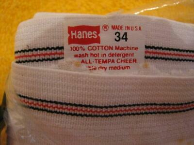 Lot of 3 Vintage Hanes men's white fly front briefs 34 red/black waistband USA!!