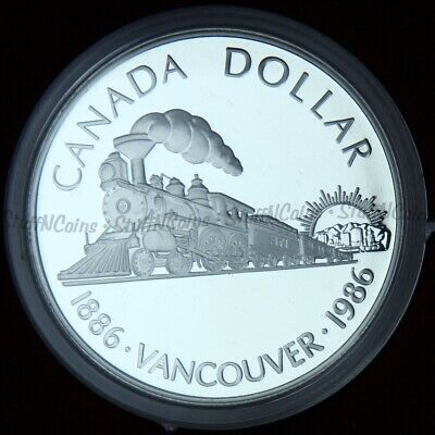 1986 $1 One Dollar Silver Vancouver Train Proof In Case